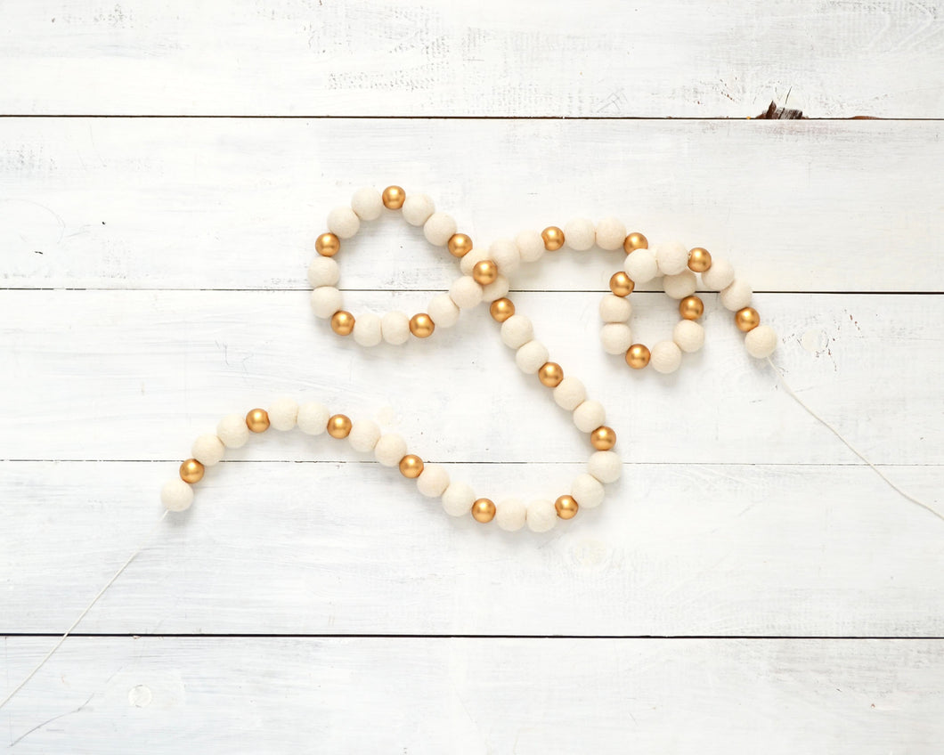 Felt Ball Garland - 2cm Ivory & Gold