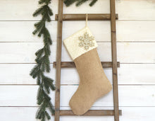 CHRISTMAS STOCKING - Ivory Sequins and Burlap