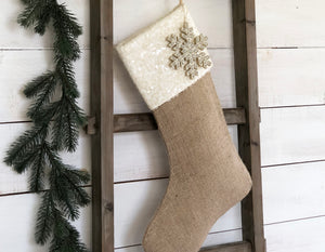 CHRISTMAS STOCKING - Ivory Sequin and Burlap