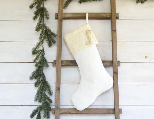 CHRISTMAS STOCKING  - Ivory Sequin and Velvet