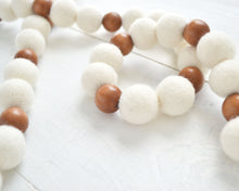 Felt Ball Garland - 2 cm Ivory & Wood