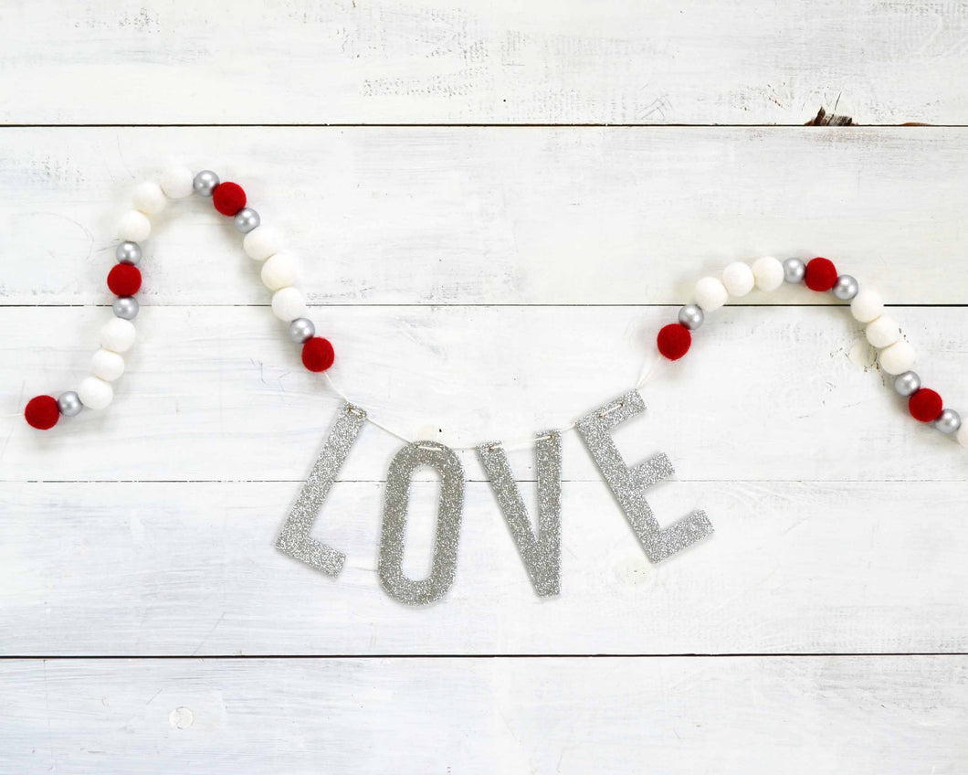 Felt Ball & Letter Garland - 2cm Red, Gold & White