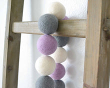 Felt Ball Garland - 4cm Lavender, Gray & White