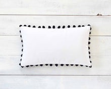 "Black Pom Pom Pillow Cover - Large 7/8"" Pom Poms"