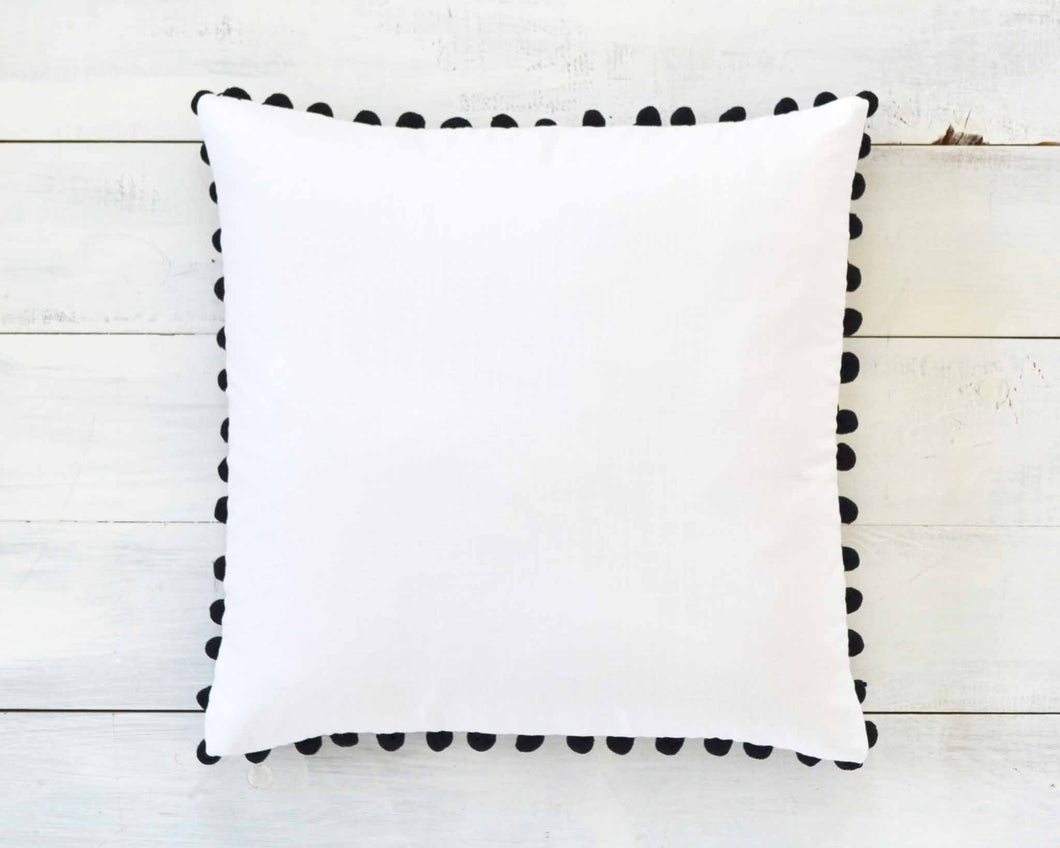 Black Pom Pom Pillow Cover - Large 7/8