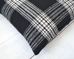Black and Off White Wool Plaid Pillow Cover