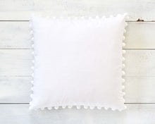 "White Pom Pom Pillow Cover - Large 7/8"" Pom Poms"