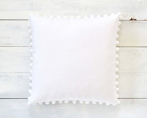 White Pom Pom Pillow Cover - Large 7/8