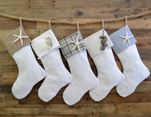 CHRISTMAS STOCKING - Gray & White Flannel Herringbone with White Cotton/Linen Texture