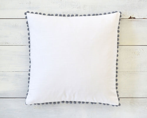 Light Gray Pom Pom Pillow Cover