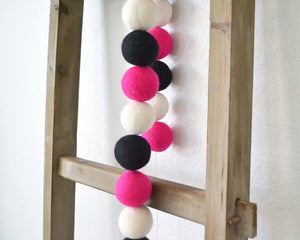Felt Ball Garland - 4cm Magenta, White & Black