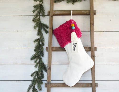CHRISTMAS STOCKING  - Magenta Faux Fur and Velvet
