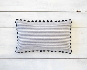 Black and White Pinstripe Pillow Cover with Large Black Pom Pom Trim