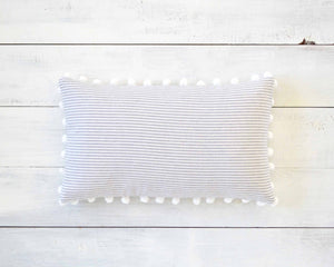Striped Pillow Cover with Large Pom Pom Trim