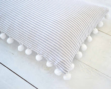 Gray and White Pinstripe Pillow Cover with Large White Pom Pom Trim