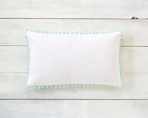 Mint Pom Pom Pillow Cover