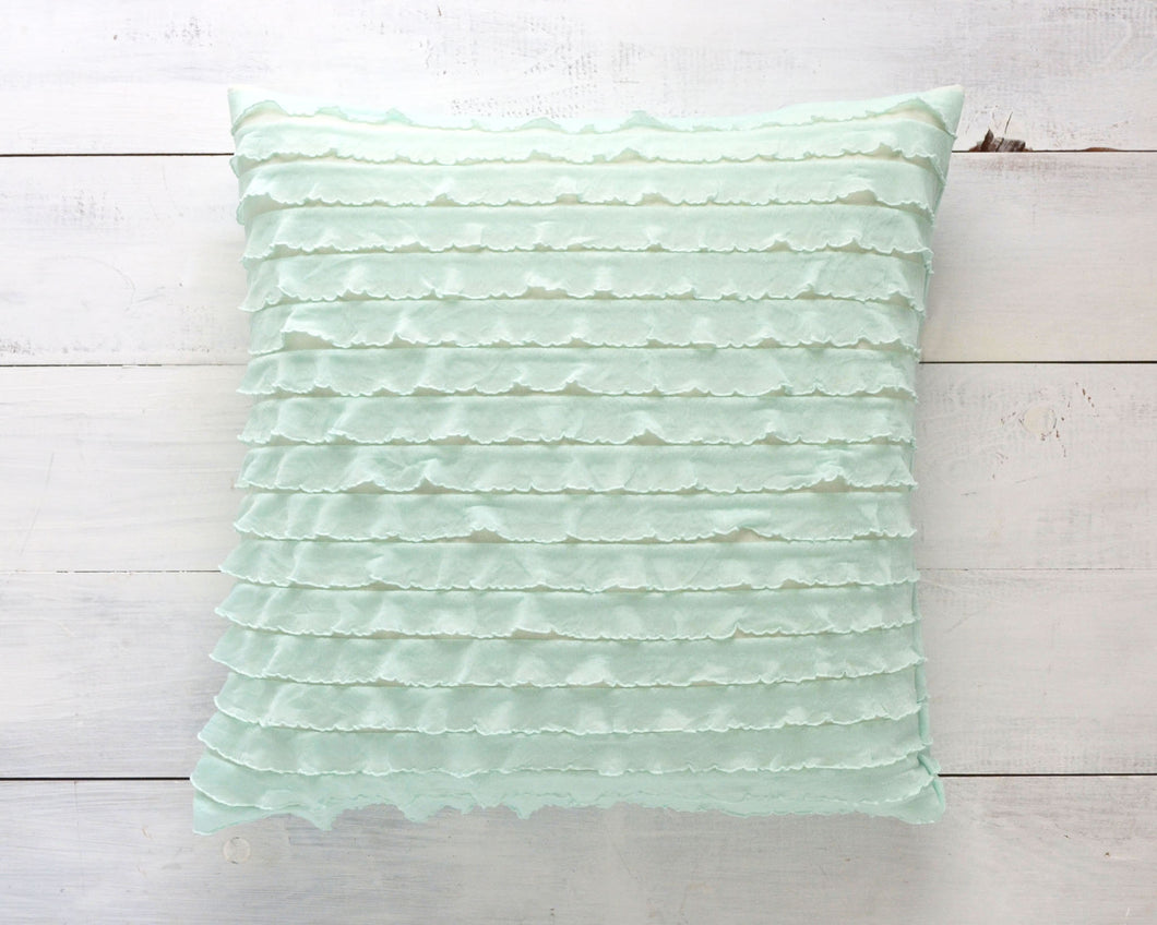 Ruffle Pillow Cover - Mint