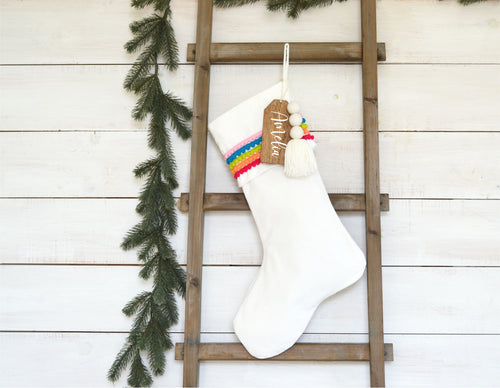 CHRISTMAS STOCKING  - MultiColor Poms and Velvet