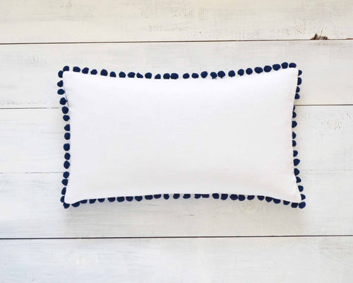Navy Blue Pom Pom Pillow Cover