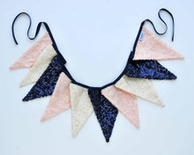 Fabric Pennant Banner - Navy, Pink & Ivory
