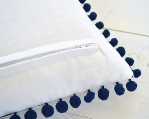 Personalized Embroidered Pillow Cover with Navy Pom Pom Trim