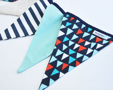 Fabric Pennant Banner - Navy, Ivory, Aqua & Red