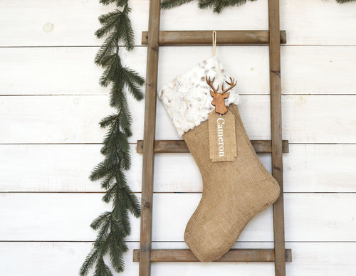 CHRISTMAS STOCKING - Neutral Faux Fur and Burlap