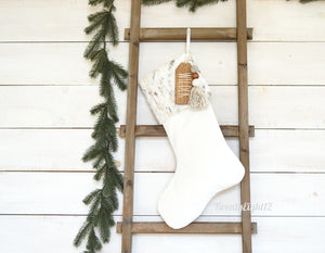 CHRISTMAS STOCKING  - Neutral Faux Fur and Velvet