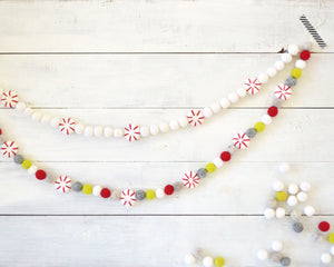 Felt Ball Garland - Peppermints