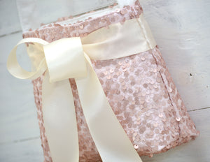 Ring Bearer Pillow & Flower Girl Basket - Blush Sequin with Ivory Bow