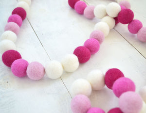 Felt Ball Garland - Pink & White