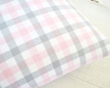 Pink, Gray & White Plaid Flannel Pillow Cover
