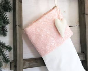CHRISTMAS STOCKING -Baby Pink Sequins and Velvet