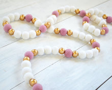 Felt Ball Garland - 2 cm White, Pink & Gold