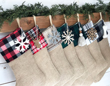CHRISTMAS STOCKINGS - Holiday Plaids with Burlap