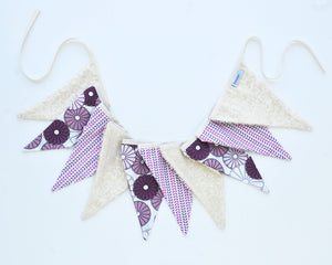 Fabric Pennant Banner - Purple, Lavender & Ivory