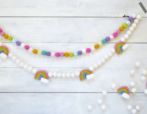 Felt Ball Garland - Rainbow Swirl Ball