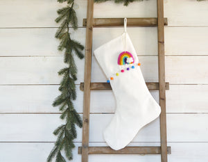 CHRISTMAS STOCKING  - Rainbow Pom Pom Trim and Vel