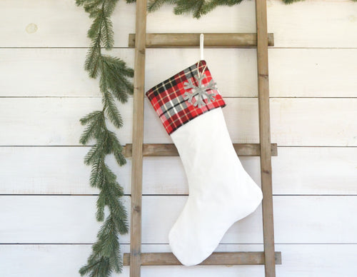 CHRISTMAS STOCKING - Red & Black Plaid and Velvet