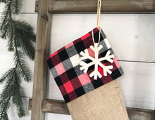 CHRISTMAS STOCKING - Red Buffalo Check and Burlap
