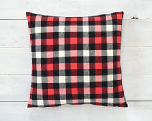 Red, Black & White Buffalo Check Pillow Cover