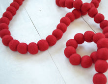 Felt Ball Garland - Red 2cm