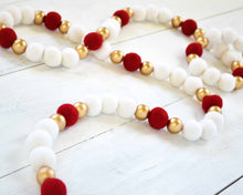 Felt Ball Garland - 2 cm Ivory, Red & Gold