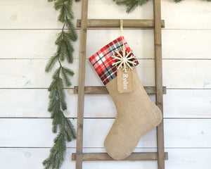 CHRISTMAS STOCKING - Red & Black Plaid and Burlap