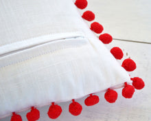 Red Pom Pom Pillow Cover