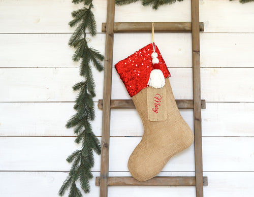 CHRISTMAS STOCKING - Red Sequin and Burlap