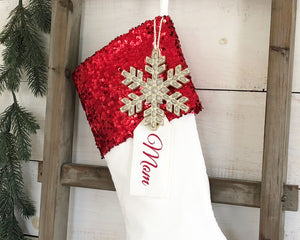 CHRISTMAS STOCKING  - Red Sequin and Velvet