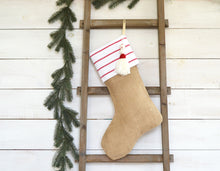 CHRISTMAS STOCKING - Red and White Stripe and Burlap