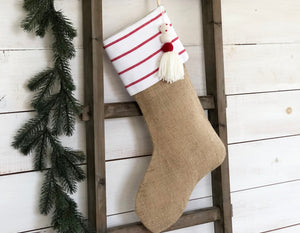 CHRISTMAS STOCKING - White & Red Stripe and Burlap
