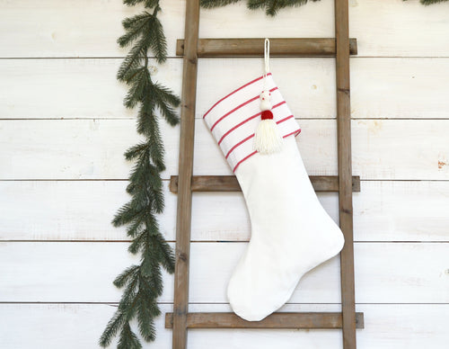 CHRISTMAS STOCKING  - White & Red Stripe and Velvet